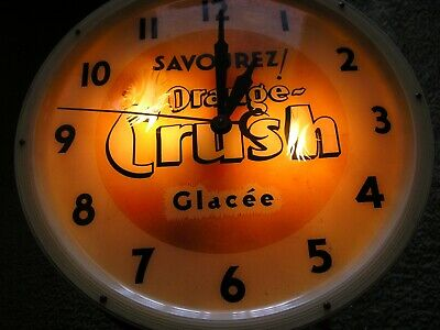 Orange Crush Soda Pop Light Up  Clock.