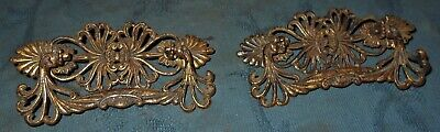Great Set  2  Large  Antique Victorian  Ornate  Brass  Drawer Pulls