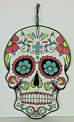 Dia de los Muertos Day of the Dead Calavera Sugar Skull w/Cross Folk Art 13""