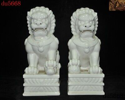 China Dehua White porcelain Evil Door Guardian Fu Foo Dog Lion beast statue Pair