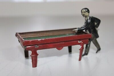 Antik Deutschland 1920s Kellermann Huki Pfennig Toy Blech Litho Billiard Pool