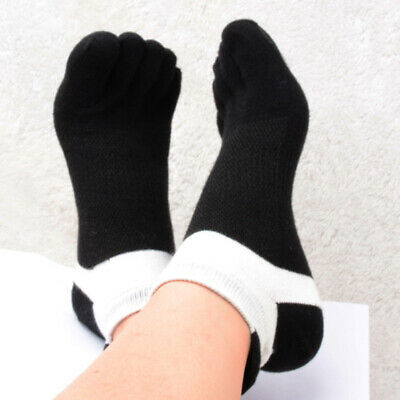 1 Pair Mens Cotton Toe Five Finger Sports Solid Ankle Breathable Low Cut Socks