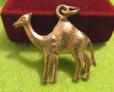 Gorgeous Antique LOVELY STERLING SILVER CAMEL PENDANT  CHARMS FOB