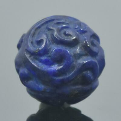 Carved Natural Blue Lapis Lazuli Round 12.53 mm Bead Carving 2.84 g Handmade