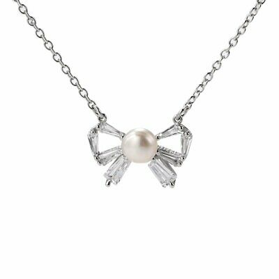 Sterling Silver White Bread Freshwater Pearl Bowknot Pendant Necklace