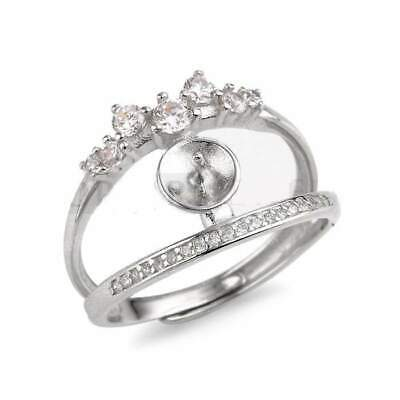 Double Band Ring Findings 925 Sterling Silver Zircon CD9RM165