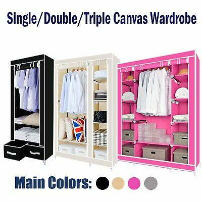 Multiple colors Canvas Effect Wardrobe Clothes Hanging Rails Shelves Storages