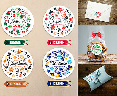 24 x Merry Christmas stickers Presents, Gifts Seal Labels -4 Designs(45mm) SNP18