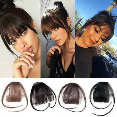 Remy Thin Air Fringe Bangs Fake False Hair Extension Clip on In Front Hairpieces