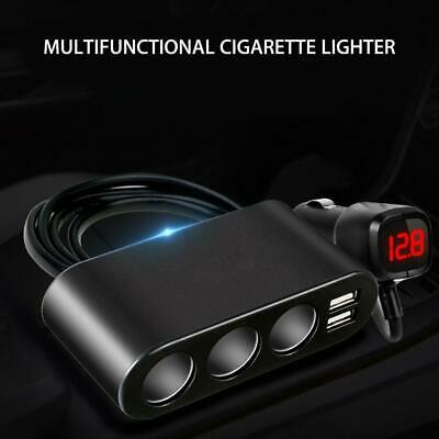 3Way Car Cigarette Lighter Socket Splitter Dual USB Charger 12/24V Power Adapter