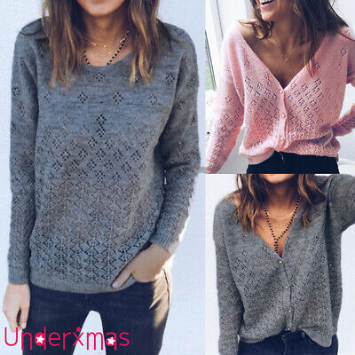Womens Long Sleeve Knitted Cardigan Ladies Reversible Pullover V Neck Jumper Top