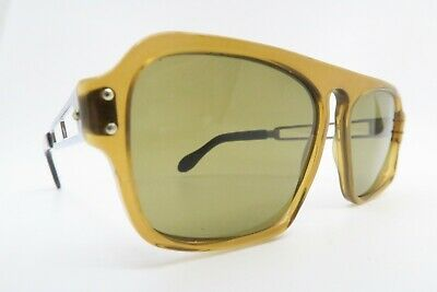 Vintage 70s sunglasses brown acetate ROW glass lens metal arm made in Germany