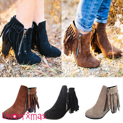 UK Womens Ladies Tassel Ankle Boots Chunky Mid Heel Casual Zip Up Shoes Size 4-7