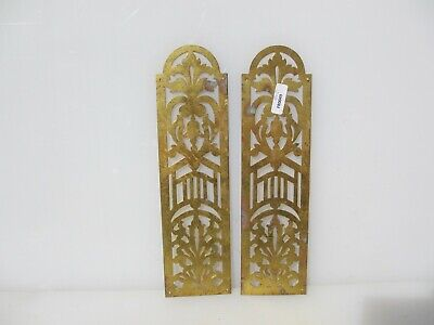 Vintage Brass Finger Plate Push Door Handle Pierced French Antique Old Pair