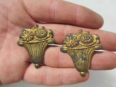 Victorian Brass Ormolu Hardware Mounts Antique French Floral Bouquet Flowers