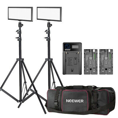 Neewer 2-pack T120 On-camera LED Video Light with Lighting Kit for Studio Video