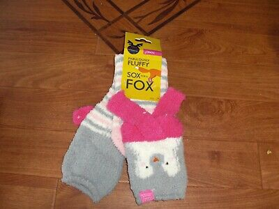 BNWT GIRLS JOULES FESTIVE FLUFFY SOX FOR A FOX PENGUIN SOCKS SIZE UK 13-2.rrp £8