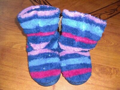 Bnwt Girls Joules Padabout Ruby Stripe Fluffy Slippers Uk S Or 8-9-10.Rrp £14.95