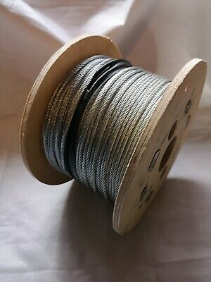GALVANISED STEEL WIRE ROPE Metal Cable 100m Roll 3mm