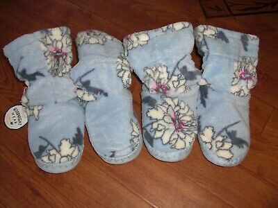 Bnwt Girls Joules Padabout Sky Blue Peony Slipper Boots Uk M Or 11-13.Rrp £14.95