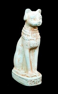 Fabulous Cat Egyptian Antique Bastet Statue Unique Bast Very Rare Faience Amulet