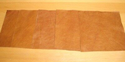 leather 5 X pieces scrap offcuts Semi Aniline Warm Caramel Pull up Leather