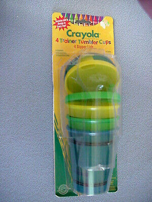 Vintage New Pack Crayola Trainer Tumbler Cups W/ Sipper Lids