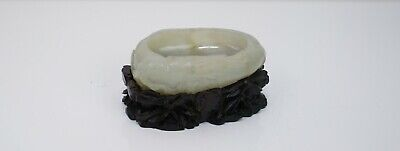 A Carved Jade Washer with Wooden Stand
