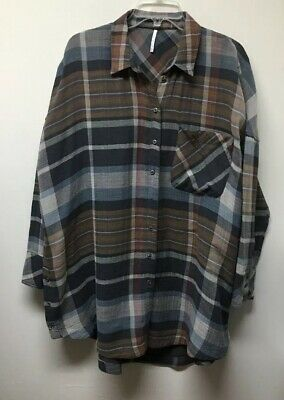 Free People Oversized Long Sleeve Plaid Flannel Button Down Shirt Tunic Women L