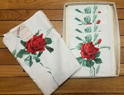 America's Pride American Beauty Rose Red Unused 54X54 Tablecloth +4 Napkins