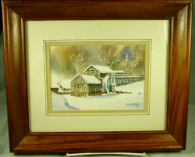 Framed Watercolor Painting - WINTER MILL by M. Lawrence
