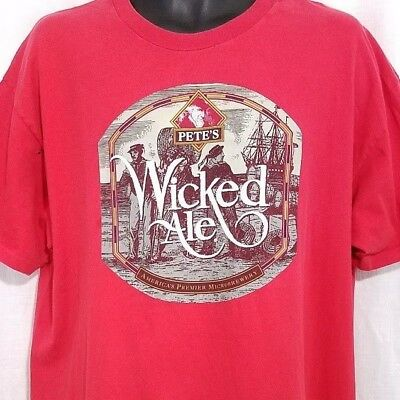 Petes Wicked Ale Mens T Shirt Vintage 90s Brewing Company Beer Destroyed Size XL