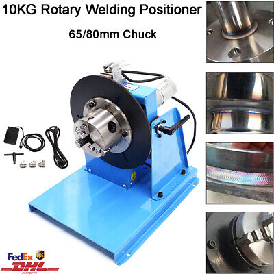 10KG Rotary Welding Positioner 0-90° Weld Turntable Table 65mm 80mm 3 Jaw Chuck