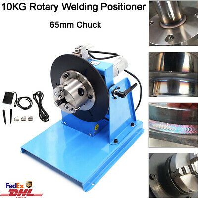 Rotary Welding Positioner 10kg Turntable Table 2.5'' 3 Jaw Lathe Chuck 2-20RPM