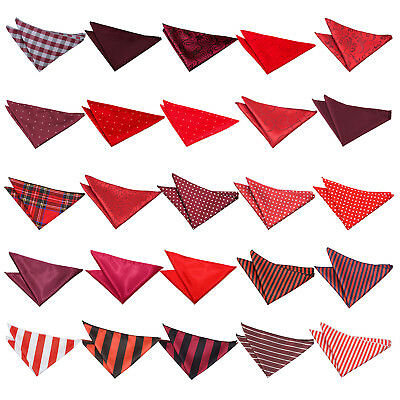 DQT Red Handkerchief Hanky Plain Plaid Pattern Floral Spotted FREE Pocket Square