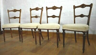 Antique Victorian carved walnut set of 4 dining chairs GILLOWS & CO