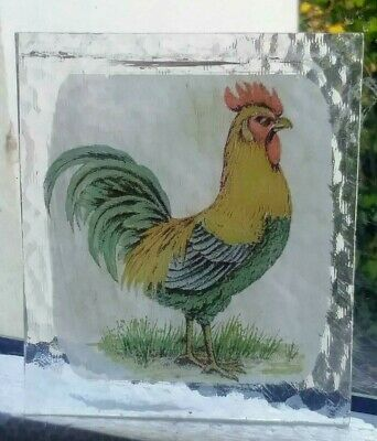 Stained Glass Cockerel bird -  Kiln fired fragment pane!