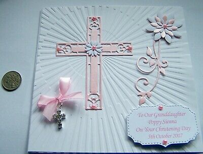 Personalised Baptism, Christening, Confirmation with Diamante Charm & Sixpence