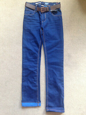 BNWT NEXT Boys Dark Blue Regular Fit Jeans with Belt 14 Years Slim