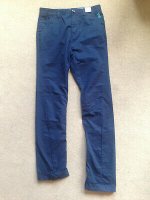 BNWT NEXT Boys Navy Blue Slim Fit Chino Trousers 15 Years Adjustable Waist