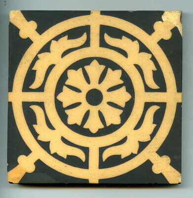 "Unglazed sandwich encaustic 4.2""sq tile, by Craven Dunnill, 1880 (0.5"" thick)"