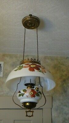 Hanging Victorian Style Brass Oil Library Lamp W/Hand Painted Dome Shade~Nice