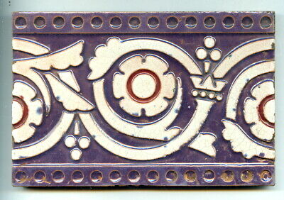 """Relief moulded 6""""x4"""" majolica border tile by Maw & Co, c1880"""