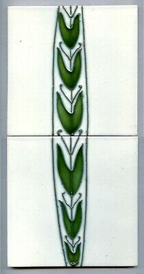 "Tube-lined 2x6""sq Art Nouveau tile panel by James Plant & Son, c1910"