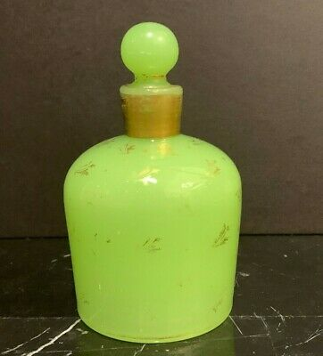 Vintage French Baccarat Green Opaline Glass Perfume Bottle