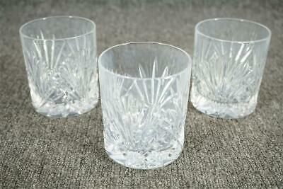 Three Ornate Cut Crystal Drinking Glasses