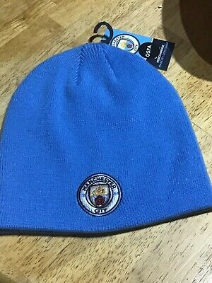 Manchester city f.c,knitted core beanie cap,official club merchandise,bnwt.