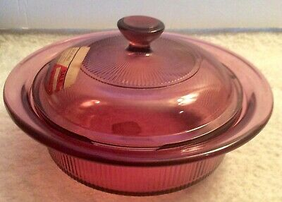 Corning Visions Cranberry Round Covered Casserole 1 Quart Vintage New with Tags