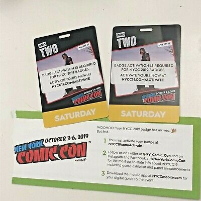 2 NYCC 2019 New York Comic Con TWO SATURDAY Tickets Passes - Verified Fan