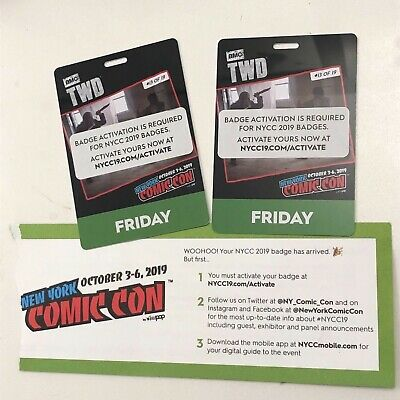 2 NYCC 2019 New York Comic Con TWO FRIDAY Tickets Passes - Fan Verified